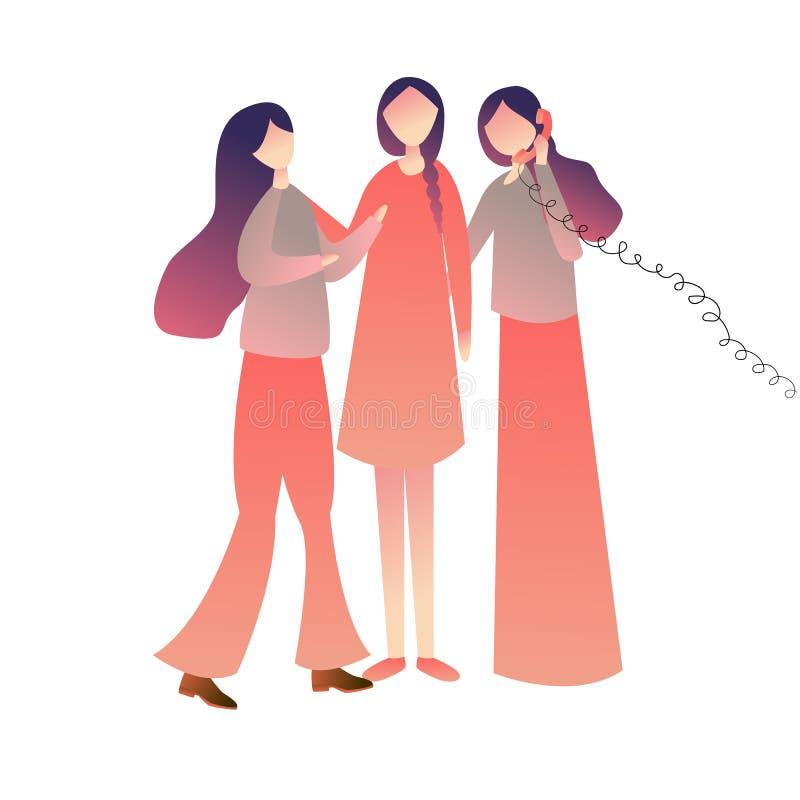 一起站立在电话的快乐的朋友妇女女孩,享用演奏老架线的电话commubnication标志 向量 库存例证