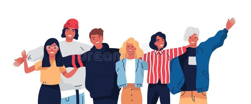 一起站立微笑的十几岁的男孩和女孩或者学校的朋友小组画象,拥抱,挥动的手 向量例证