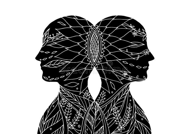 一起策划, chakra力量,抽象想法,世界,在您的头脑里面的宇宙,传染媒介 库存例证