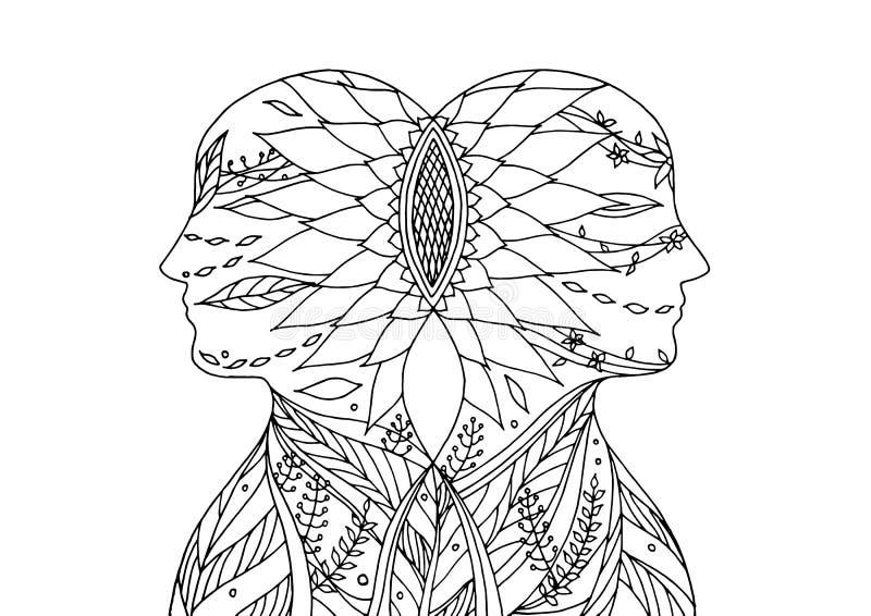一起策划, chakra力量,抽象想法,世界,在您的头脑里面的宇宙,传染媒介 皇族释放例证
