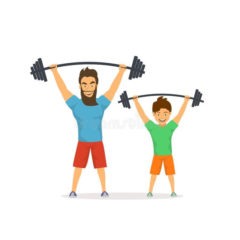 一起行使的父亲和的儿子,在健身房,爸爸的举的杠铃给出好例子他的孩子,健康生活方式 皇族释放例证