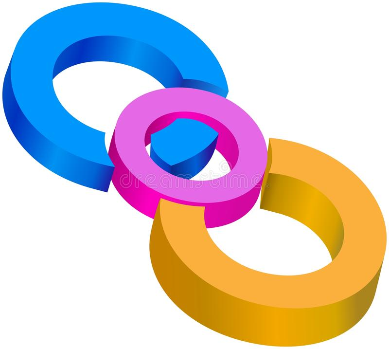 一起被加入的色的中心圈子 皇族释放例证