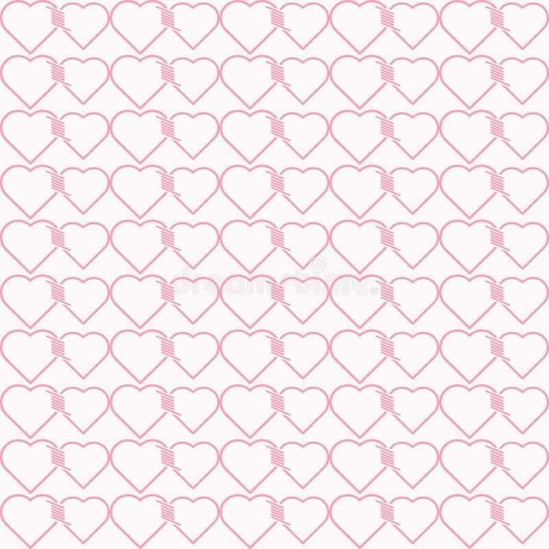 一起被栓的心脏的传染媒介无缝的样式 向量例证