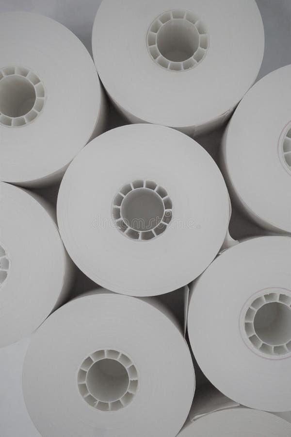 一起被紧贴的黑白记数器磁带卷 库存照片