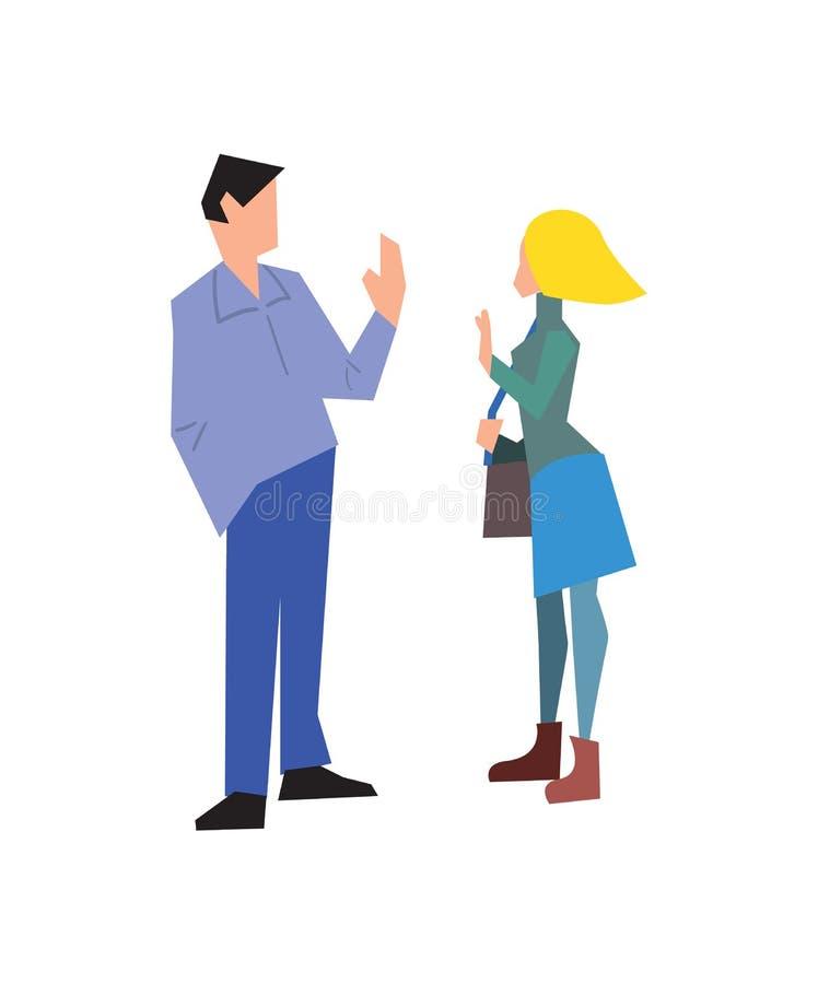 一起讲话可爱的年轻的夫妇 库存例证