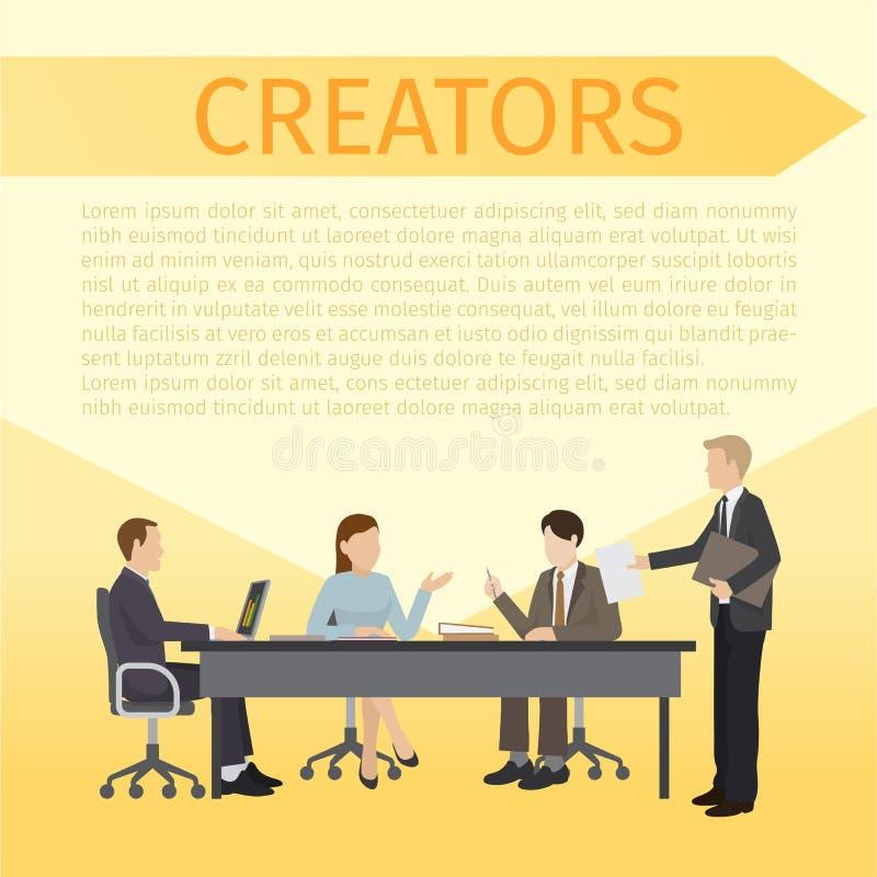 一起谈论的创作者坐在桌上和想法横幅,海报传染媒介例证 人与膝上型计算机一起使用 库存例证