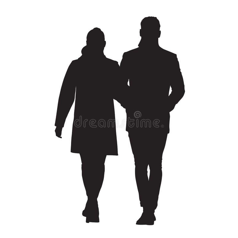 一起走的夫妇 男人和妇女传染媒介剪影 库存例证
