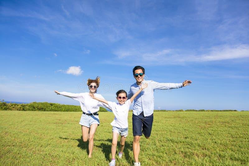 一起跑在草的愉快的家庭 免版税库存照片