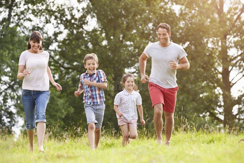 一起跑横跨夏天领域的微笑的家庭 库存照片