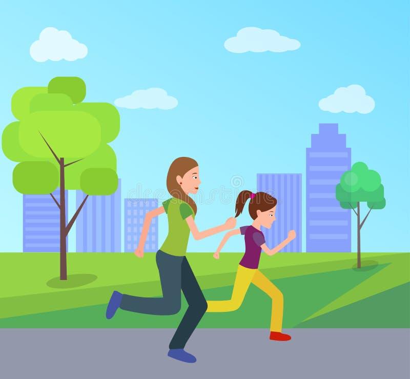 一起跑步城市公园传染媒介的母亲女儿 库存例证