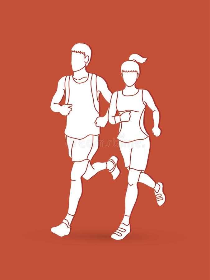 一起跑的男人和的妇女,马拉松运动员 库存例证
