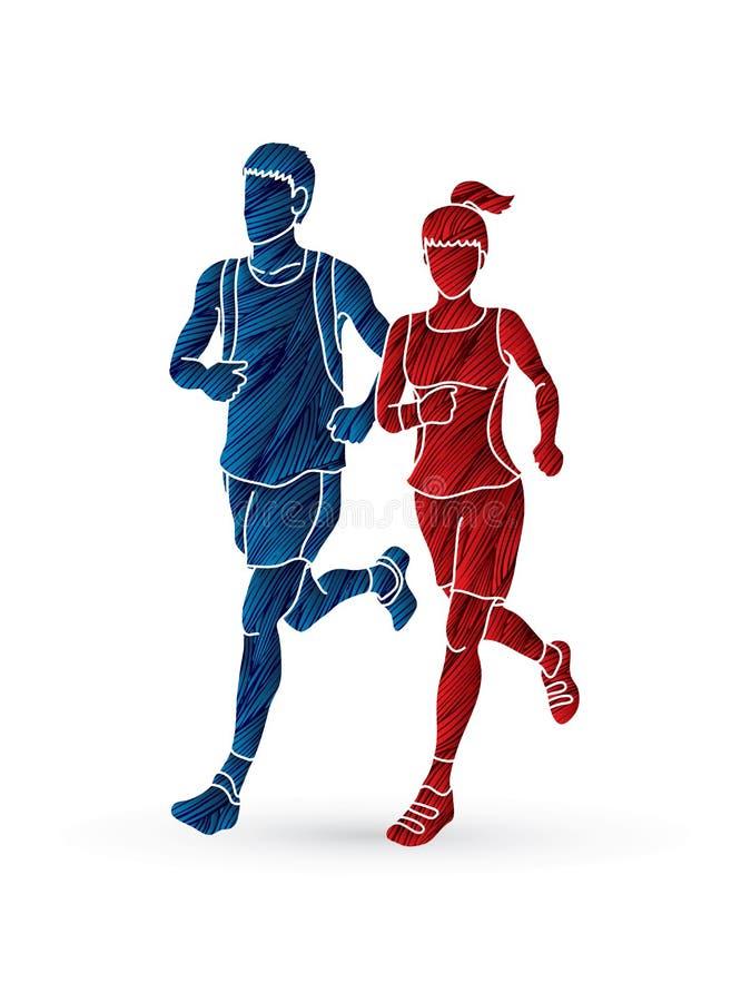 一起跑的男人和的妇女,马拉松运动员 皇族释放例证