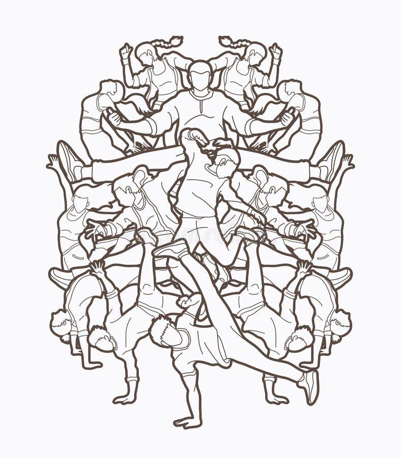 一起跳舞人的,舞蹈家舞蹈,街道舞蹈图表传染媒介 向量例证