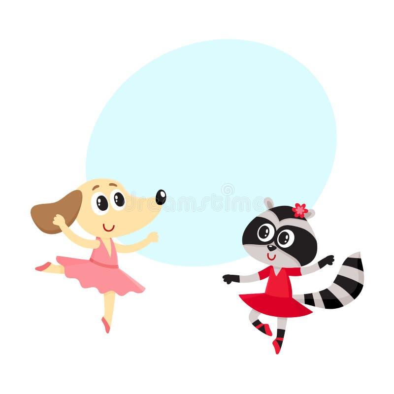 一起跳舞芭蕾的狗和浣熊、小狗和小猫字符 库存例证