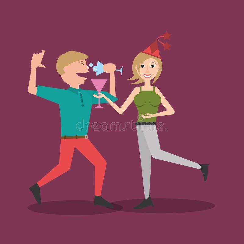 一起跳舞饮料的夫妇 库存例证