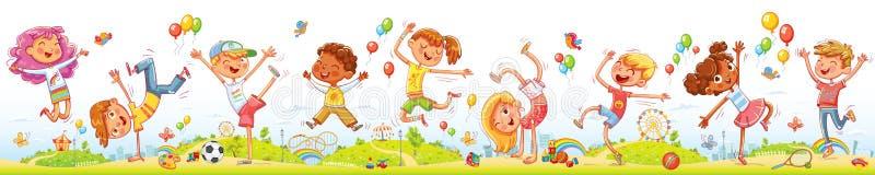 一起跳跃和跳舞在娱乐游乐场的愉快的孩子 向量例证
