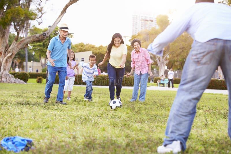 一起踢足球的多一代家庭 免版税库存图片
