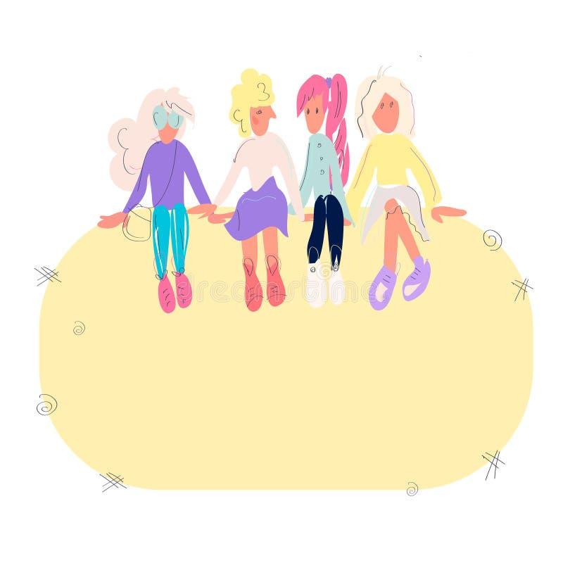 一起选址在文本的框架的四个年轻女人或女孩 小组朋友或女权活动家 母卡通人物 向量例证