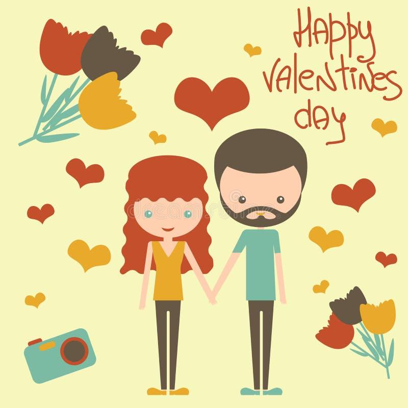 一起逗人喜爱的年轻夫妇在情人节 库存例证