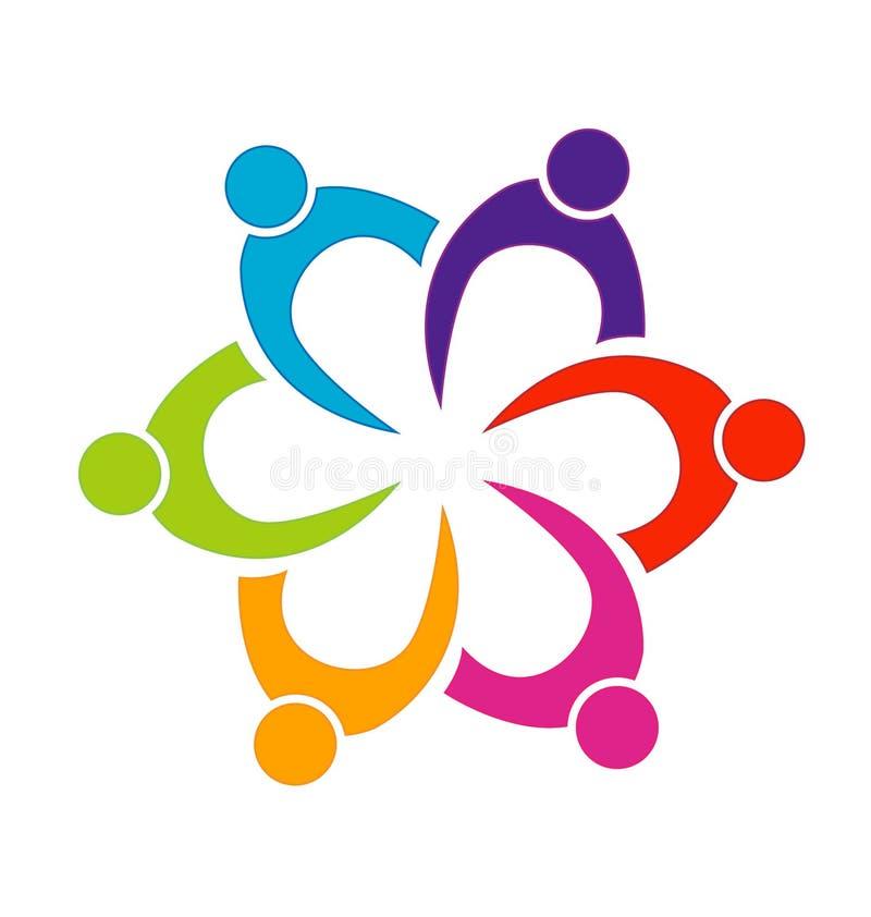 一起配合人团结传染媒介商标 库存例证