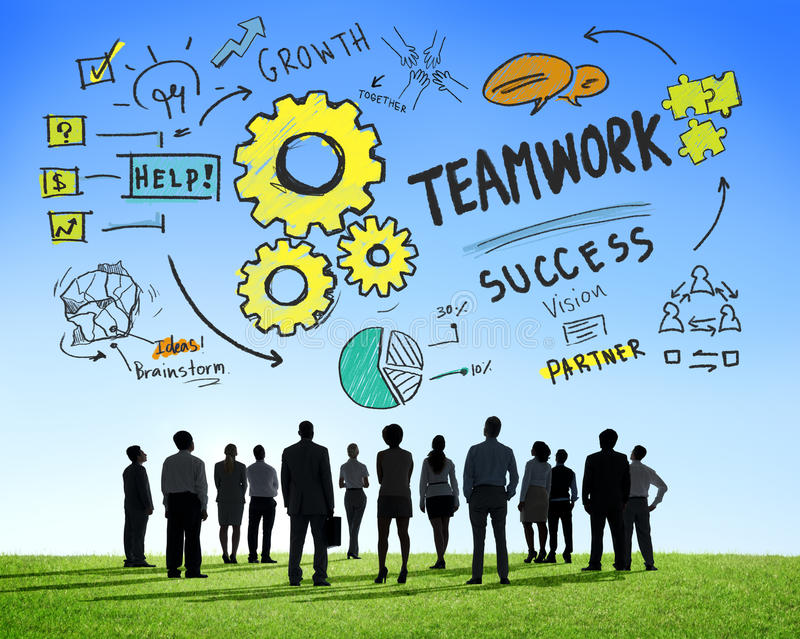 一起配合队合作企业志向目标C 库存图片