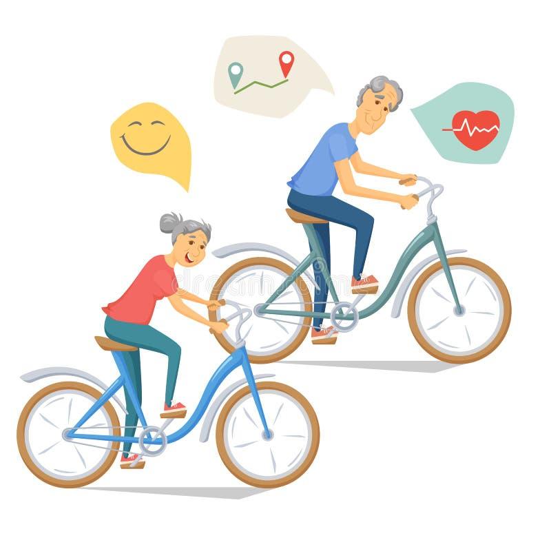一起骑自行车的前辈 皇族释放例证