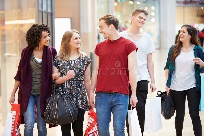 一起购物在购物中心的小组年轻朋友 免版税库存照片