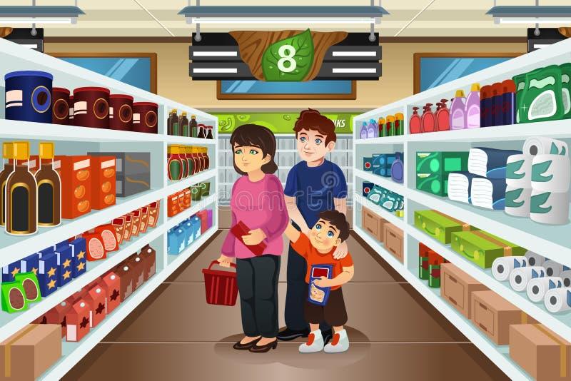 一起购物的家庭 向量例证