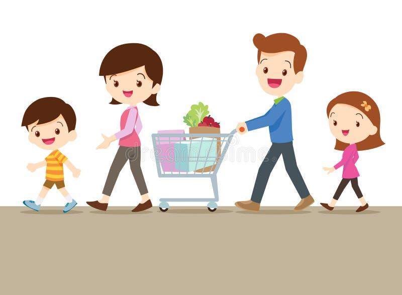 一起购物逗人喜爱的家庭 库存例证