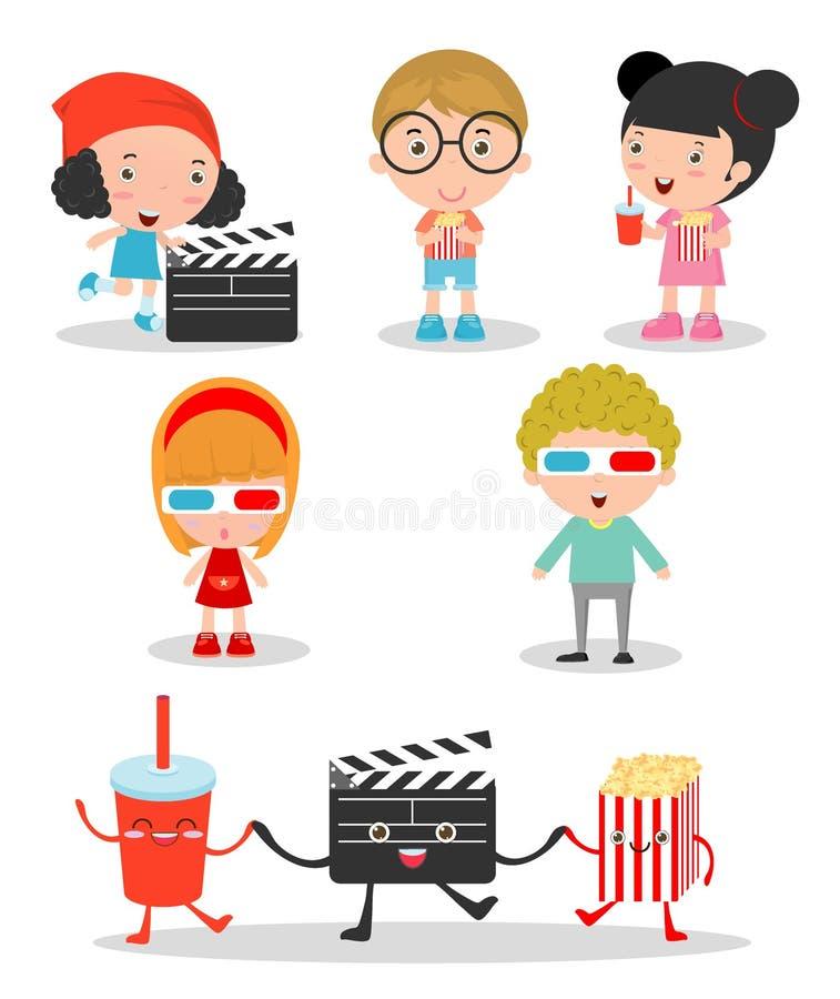 一起去电影的愉快的孩子 向量例证
