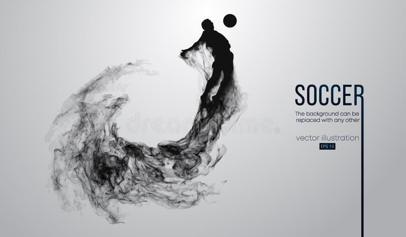 一足球选手的抽象剪影白色背景的从微粒 足球运动员跑的跳跃与球 皇族释放例证
