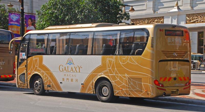 一辆共同的自由赌博娱乐场公共汽车在澳门 库存图片