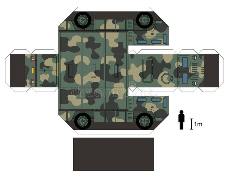 一辆军用卡车的纸模型 向量例证