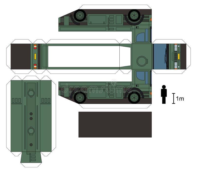一辆军用槽车的纸模型 库存例证