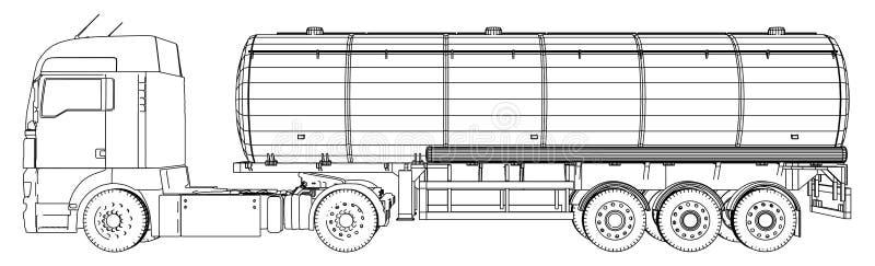 一辆卡车的剪影有坦克传染媒介的 3d的被创造的例证 导线框架 皇族释放例证