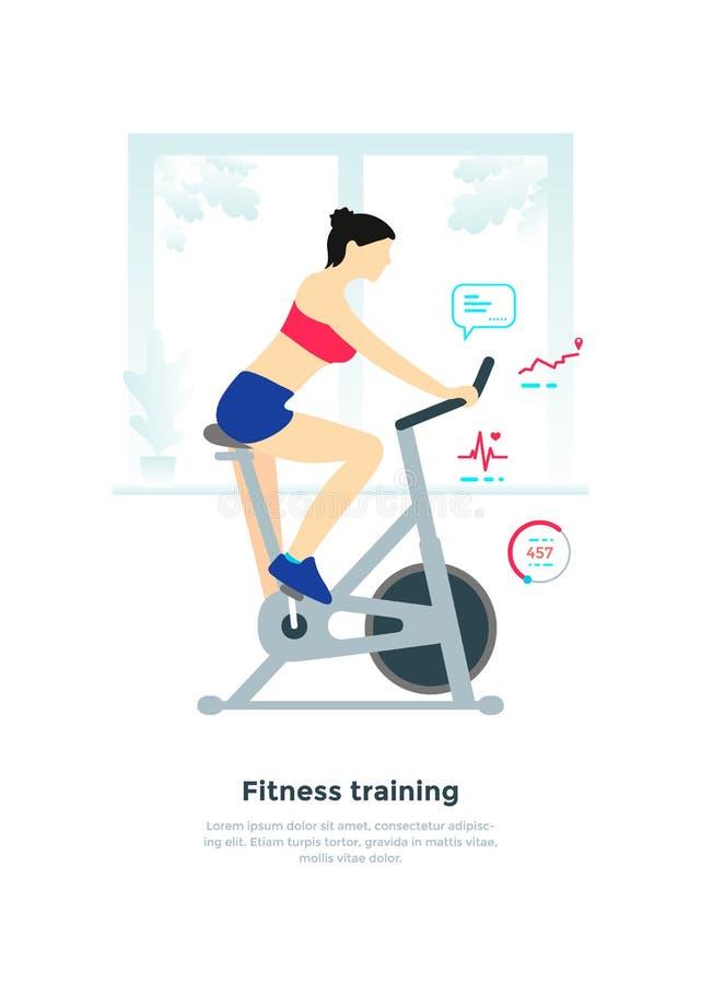一辆固定式自行车的妇女 向量例证