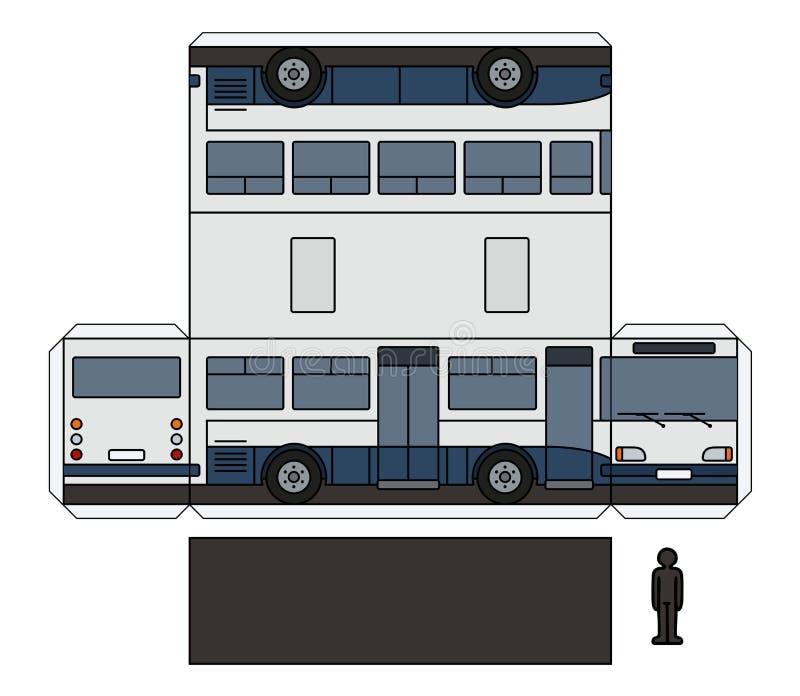 一辆小公共汽车的纸模型 向量例证