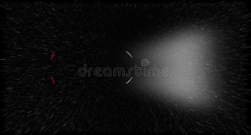 一辆汽车的光的例证在黑暗和雨,顶上的看法中 库存照片