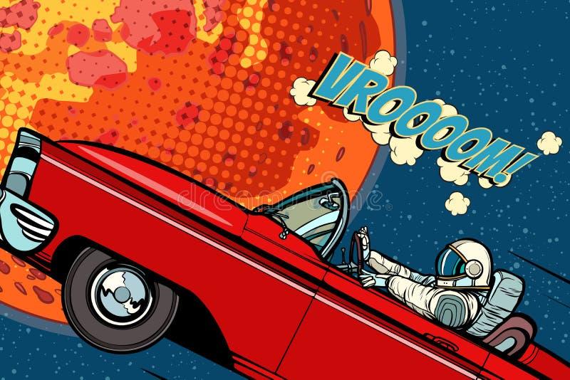 一辆汽车的宇航员在行星火星 皇族释放例证