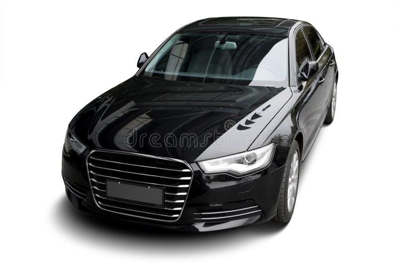 一辆独立黑静态汽车在白色背景中 图库摄影