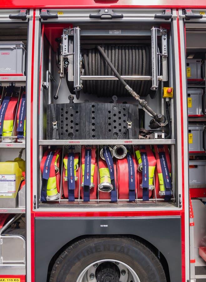 一辆现代荷兰消防车的内部 图库摄影