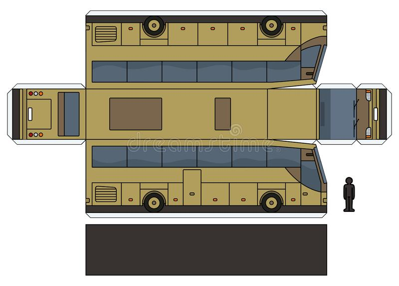 一辆米黄公共汽车的纸模型 皇族释放例证