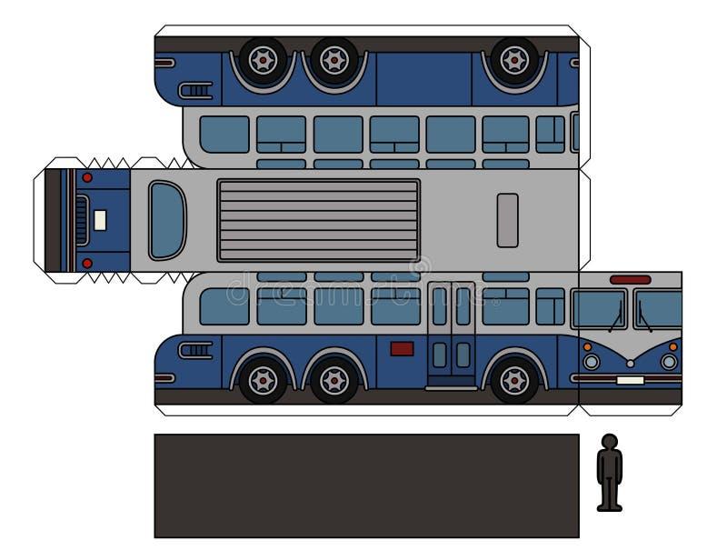 一辆经典大公共汽车的纸模型 库存例证