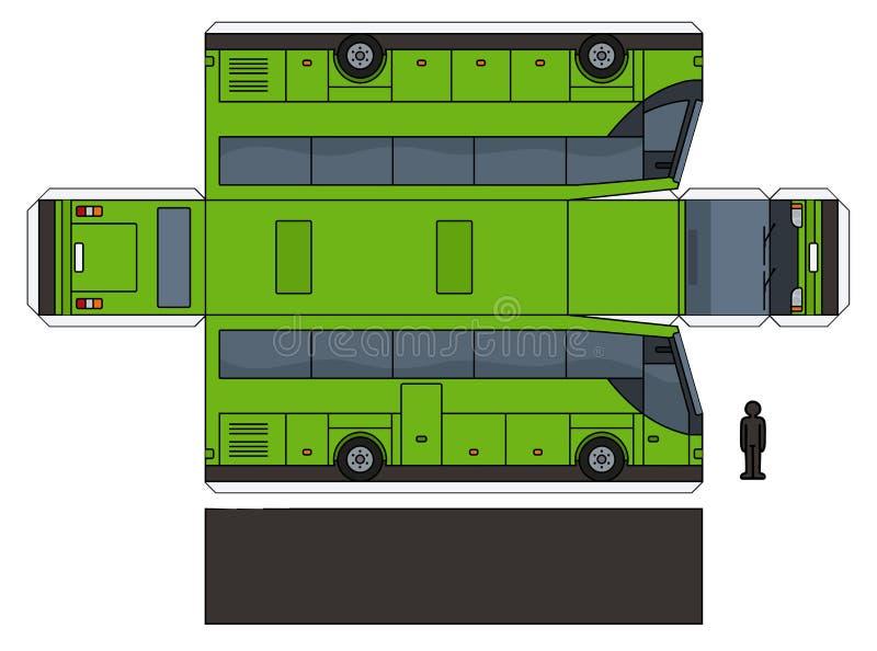 一辆绿色公共汽车的纸模型 库存例证
