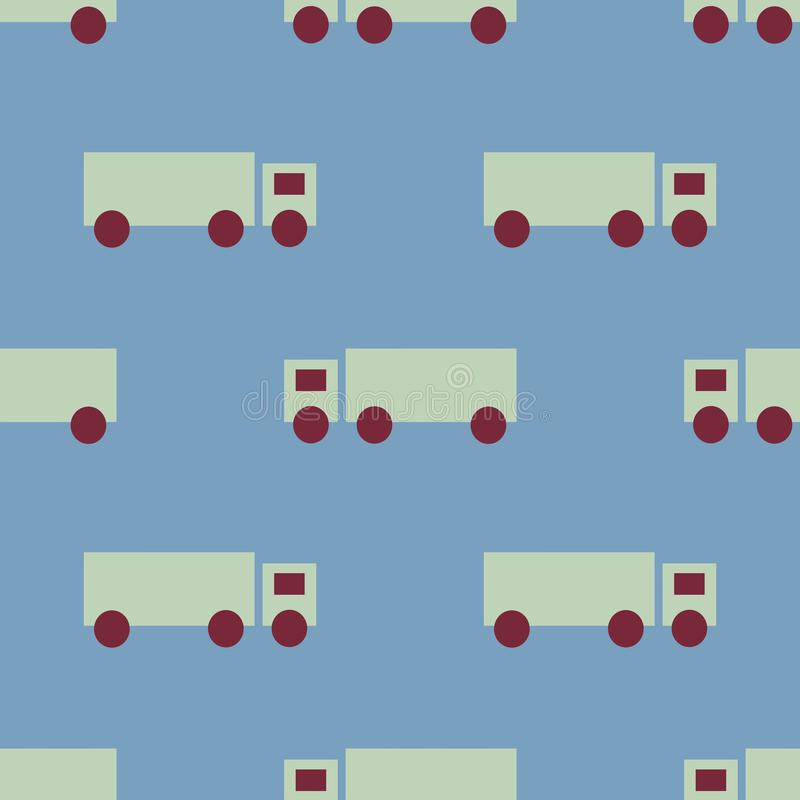 一辆绿色卡车的一个无缝的样式有一辆高拖车的 使用伯根地红色轮子,在蓝色背景 向量例证