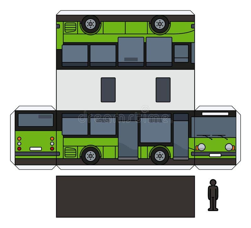 一辆绿色小公共汽车的纸模型 库存例证