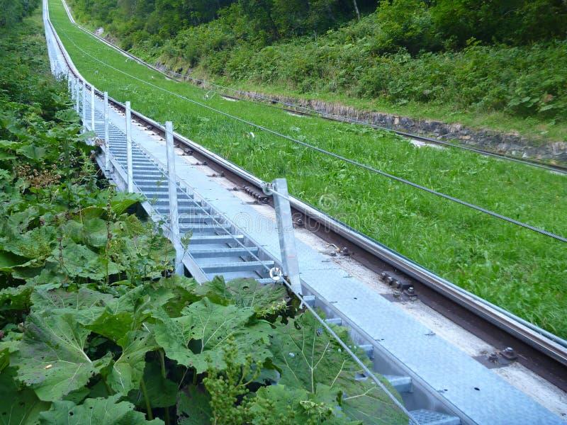 一辆缆车的钢结构在草小山的 库存图片
