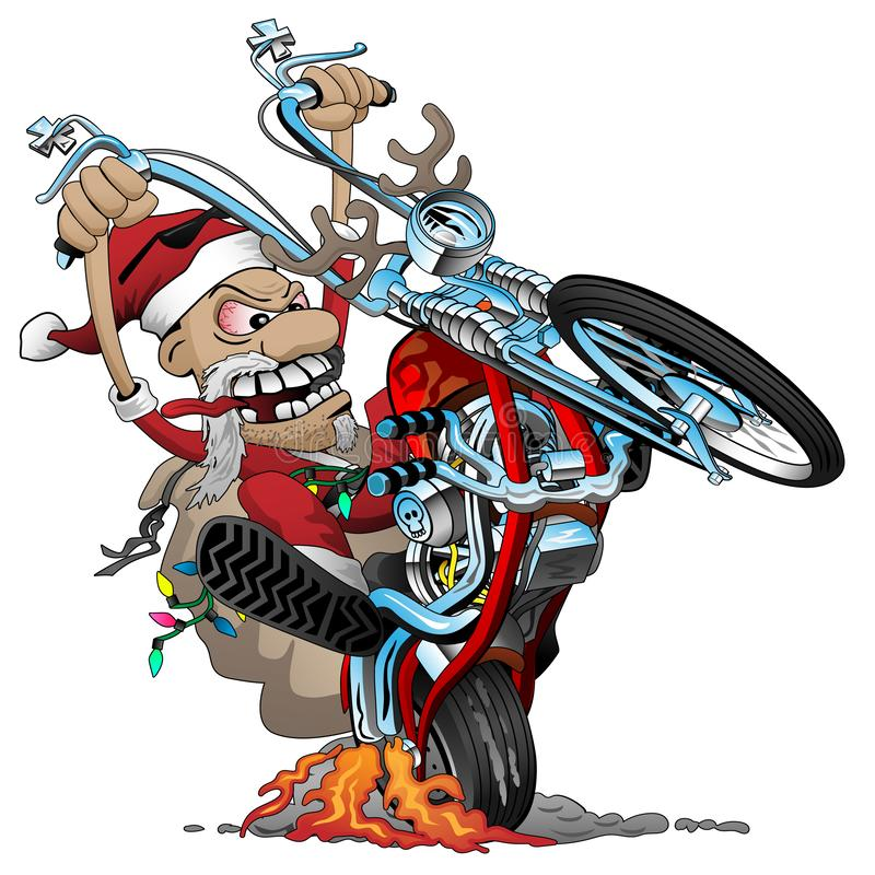 一辆美国风格的砍刀摩托车的圣诞老人骑自行车的人,流行自行车前轮离地平衡特技,传染媒介动画片例证 库存例证
