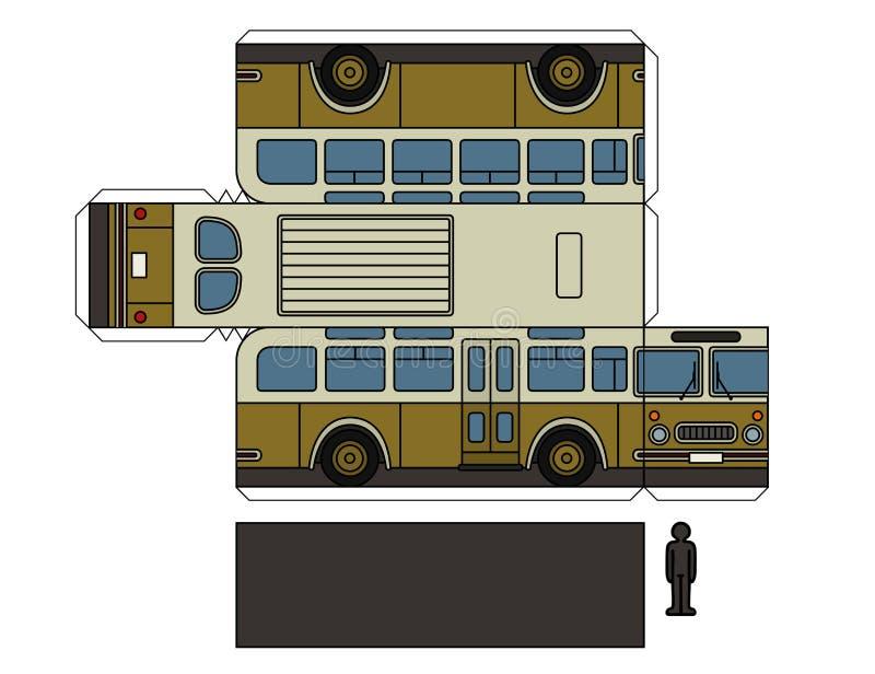 一辆老公共汽车的纸模型