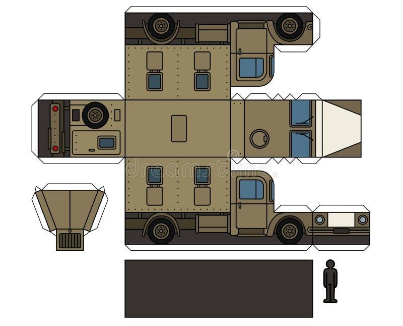一辆老军用卡车的纸模型